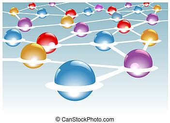 réseau, modules, système, connecté, noeuds, brillant