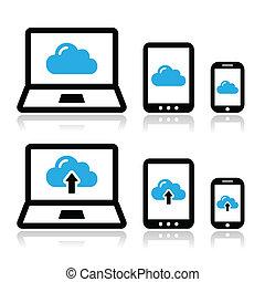 réseau, nuage, tablette, ordinateur portable