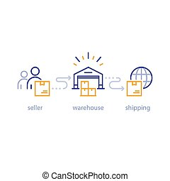 réseau, paquet, globalement, expédition, vendeur, livraison, acheteur, entrepôt, international, expédition, icône