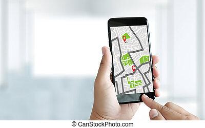 réseau, parcours, gps, destination, navigation, icônes, carte, connexion, emplacement, rue