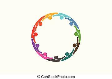 réseau, personnes, média, gens, -, onze, social, logo