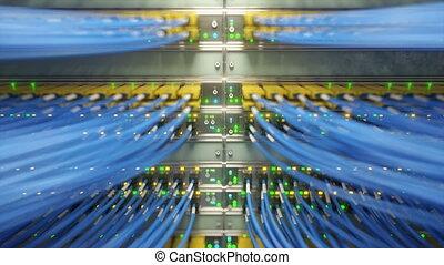 réseau, pleinement, loopable, commutateurs, rendre, média, ethernet, video., chargé, converters, 3d