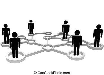 réseau, professionnels, connecté, social, noeuds, ou