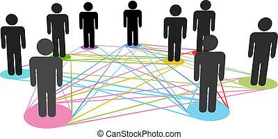 réseau, professionnels, couleur, connexions, social