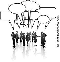 réseau, professionnels, média, communication, conversation équipe