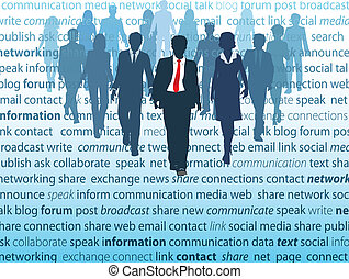 réseau, professionnels, média, social, concepts