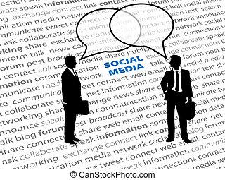 réseau, professionnels, texte, social, bulles, parler