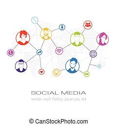 réseau, profil, silhouette, gens, communication, utilisateurs, coloré, icônes, média, concept, connexion, social