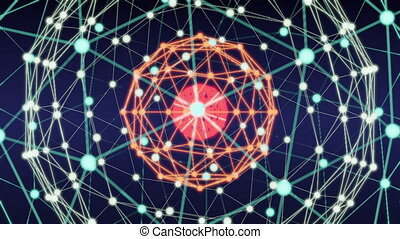 réseau, résumé, blockchain, animation, technologie, boucle