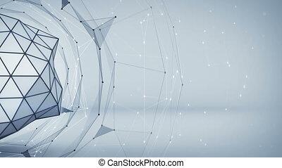 réseau, render, résumé, gris, forme., polygonal, animation, 3d