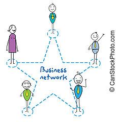 réseau, signe, business, étoile