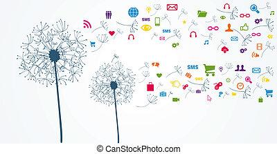 réseau, social, coloré, flower.