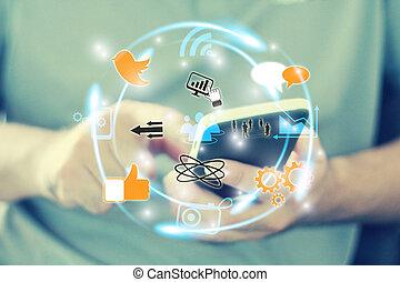 réseau, social, concept, média