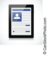 réseau, tablette, écran, pc, social, page