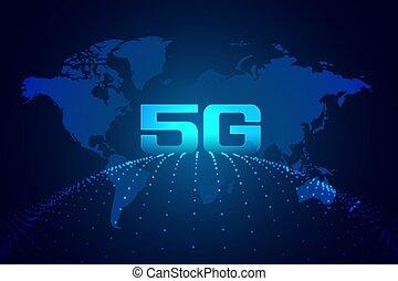 réseau, technologie, 5g, numérique, global, fond