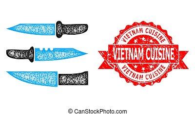 réseau, textured, tamponnez icône, couteaux, cuisine, vietnam