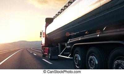 réservoir, conduite, semi-remorque, camion, coucher soleil, long, désert, route