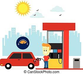 réservoir, haut, homme, essence, remplissage