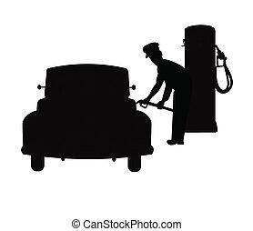 réservoir, jockey, essence, remplissage, voitures