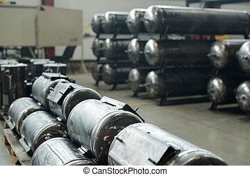 réservoirs, entrepôt, air
