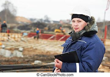 résident, constructeur, site construction, ingénieur