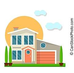 résidentiel, coloré, maison, isolé, illustration, vecteur, two-floored, blanc