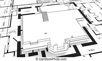 résidentiel, construction, wireframe, maison