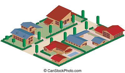 résidentiel, dessin animé, district