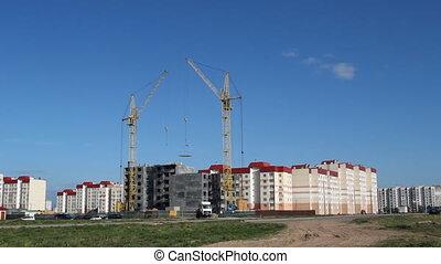 résidentiel, grue, maison, construction, tour, dalle, ascenseurs