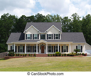 résidentiel, histoire, deux, maison