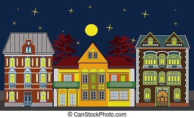 résidentiel, maisons, trois, nuit