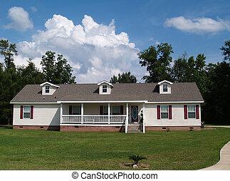 résidentiel, une, histoire, ranch, maison