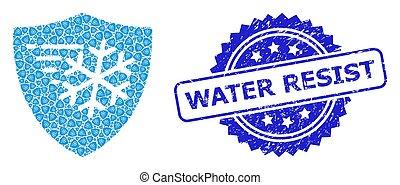 résister, icône, textured, protection, cachet, recursion, composition, gelée, eau