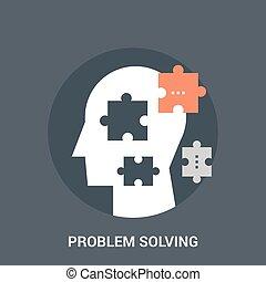 résolvant problème, concept, icône