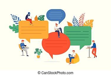 résoudre, plat, recherche, groupe, gens, communication, brainstorming., jeune, illustration, bavarder, idées, vecteur, problème, style