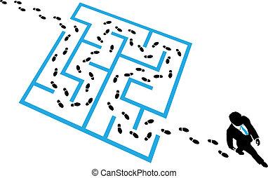résout, business, puzzle, personne, labyrinthe, problème