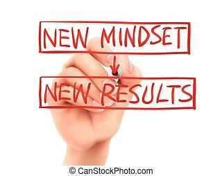 résultats, main écrite, mots, nouveau, mindset