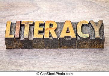 résumé, alphabétisation, mot, woodtype