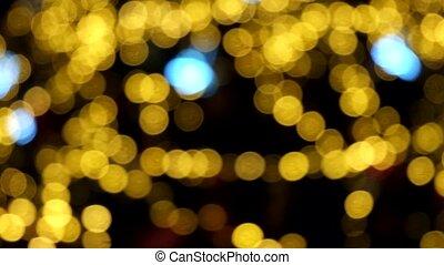 résumé, arbre, bokeh, lumières, rotation, defocused, fond, noël