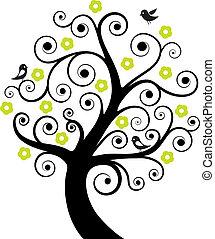 résumé, arbre, oiseaux