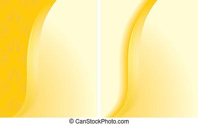résumé, arrière-plans, deux, jaune