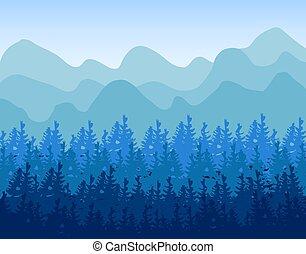 résumé, bannières, vert, conifère, tone., horizontal, collines, sombre, bois
