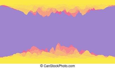 résumé, bleu, rose, coloré, colors., clair, moderne, 3d, fond, jaune, rendre, boucle, ondulé, animation., wallpaper.
