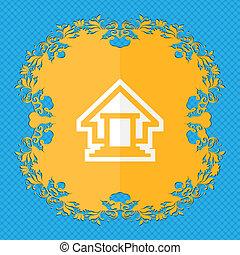 résumé, bleu, ton, text., fond, endroit, floral, house., conception, plat