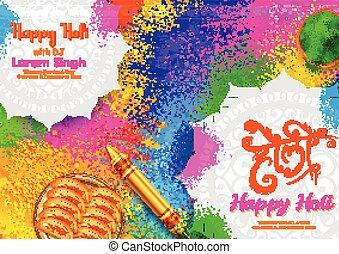 résumé, carte, heureux, salutations, couleur, festival, holi, coloré, inde, conception, célébration, fond