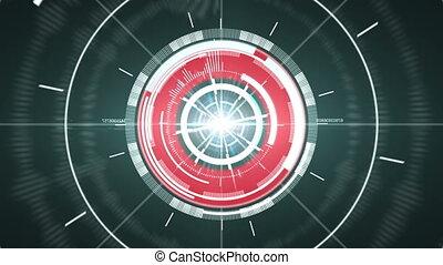 résumé, cercle, element., high-tech