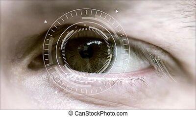résumé, cercle, oeil, high-tech, humain