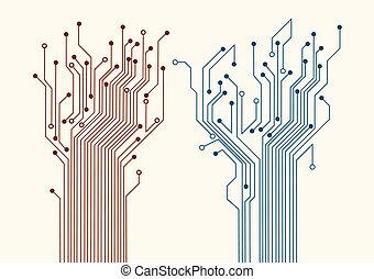 résumé, circuit, deux, arbres
