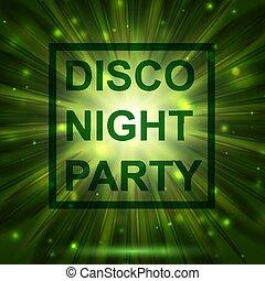 résumé, clair, arrière-plan., invitation., disco., nuit, partie., celebration., print.