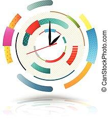 résumé, colourful., horloge